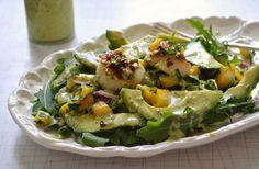 Arugula salad with pistachio crusted scallops.......YUM!