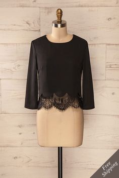Tullamore - Black lace trim scalloped crop top