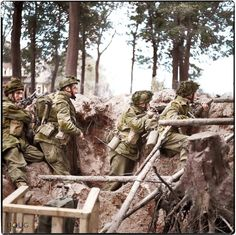 Men of No 3 Platoon, R Company, 1st Parachute Battalion, 1st (British) Airborne Division armed with Bren gun and No. 4 rifles defend a large shell hole outside Arnhem, during Operation 'Market Garden', 17th September 1944.