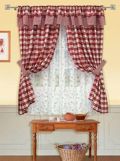 Kitchen Window Curtains, Home Curtains, Valance Curtains, Cortinas Country, Kitchen Curtain Designs, Country Window Treatments, Country Style Curtains, Rideaux Design, Shabby Chic Curtains