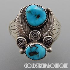 RUNNING BEAR SHOP STERLING SILVER TURQUOISE SWIRLS FEATHERS MEN'S RING SIZE 12