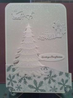 Flamingo card front with MB Frosted Christmas Tree die stenciled with white ink.