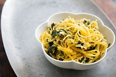 Spaghetti Squash and Chard Sauté ~ Spaghetti squash, first baked, then shredded and sautéed with chard, garlic, rosemary, and Parmesan. ~ SimplyRecipes.com