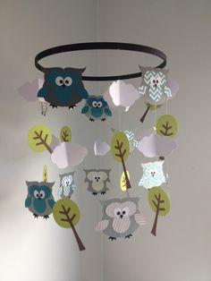 Handmade paper owl baby mobile for nursery