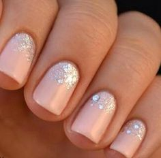 Light pink & silver sparkles at the cuticle