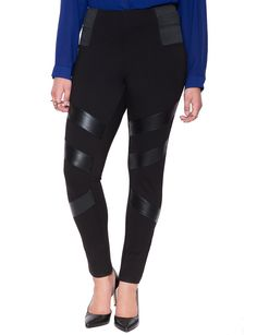 Faux Leather Insert Miracle Flawless Legging Black