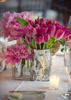 table setting - Tulips & Peonies in Mercury glass containers.