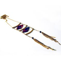 Diamond Ladder Necklace - lapis luzuli and red obsidian jasper - vintage brass bars chain and tassels - ss14 on Etsy, $110.00