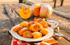Pumpkin Fritters with Sweet Ginger Yoghurt recipe - south african dessert South African Desserts, South African Recipes, Graham Recipe, Pumpkin Fritters, Sarah Graham, Caribbean Recipes, Caribbean Food, Recipe Creator, Healthy Family Meals