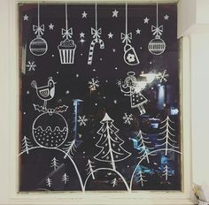 Boutiquizing Inspo: This adorable window art celebrates Christmas deserts and candy. The follow-up presumably celebrates the virtues of oversized sweaters and winter coats. Trendwatch: Single colour \ White \ Illustrations \ Window art \ Christmas & Winter. Artwork by Katy Halford Illustrations