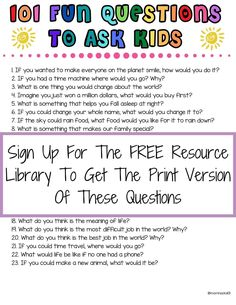 101 Fun Questions To Ask Kids To Know Them Better - Mom Hacks 101 Fun Questions For Kids, Funny Questions, This Or That Questions, Icebreaker Questions, Interview Questions, Fun Activities For Kids, Games For Kids, Kids Fun, Fun Games