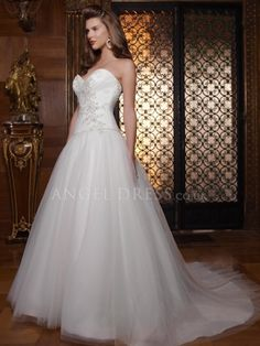 Ball Gown Tulle Sweetheart Floor Length Wedding Dress With Appliques