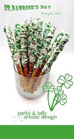 70 St Patrick's Day Food & Drink Ideas – This Tiny Blue House St Patrick Day Snacks, St Patricks Day Food, Saint Patricks, Holiday Treats, Holiday Fun, Memorial Day, Pretzel Rods, Pretzel Sticks, Cocktail