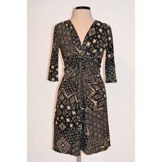 3/4 Sleeve Knot Dress  Print