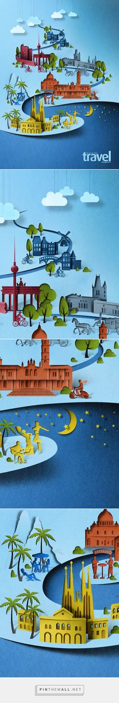 Editorial illustration for Sunday Times Travel. on Behance... - a grouped images picture - Pin Them All