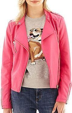 We all need some colour in our life, get this  Heart Ronson Faux-Leather Moto Jacket that Mindy wore on S3E12 #MindyProject #TV #Fashion