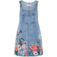 Embroidered Denim Pinafore Dress by Glamorous Petite