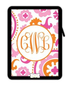 Personalized Suzanni trio ipad/tablet sleeve.  We love the pattern and color choices!