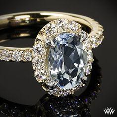 Indulge your halo love - Oval Halo Aquamarine and Diamond Right Hand Ring