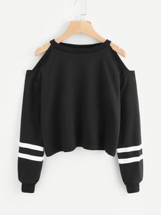 Cold Shoulder Varsity Striped SweatshirtFor Women-romwe