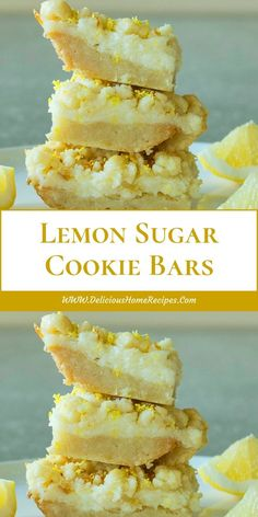 Lemon Sugar Cookie Bars Lemon Sugar Cookie Bars: These lemon bars are one of the best easy to make lemon desserts! They have a sugar cookie crust and tangy lemon cheesecake filling! Lemon Desserts, Köstliche Desserts, Lemon Recipes, Sweet Recipes, Baking Recipes, Delicious Desserts, Dessert Recipes, Yummy Food, Bar Cookie Recipes