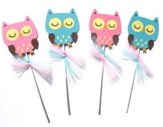 Items similar to Pink and Teal Woodland Owl Animal Themed Party Centerpiece Sticks Set of 4 - Birthday Party or Baby Shower on Etsy Owl Party Decorations, Party Centerpieces, Party Themes, Owl Animal, Owl Pet, 4th Birthday Parties, Woodland, Pikachu, Teal