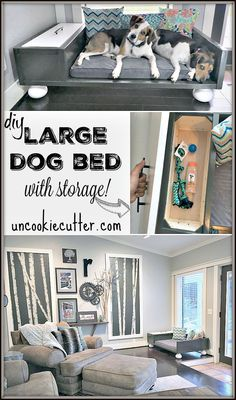 Dog Bed-Happy Birthday George and Stella! Large Dog Bed with Storage - - Best stuff for Dogs and Dog Lovers!Large Dog Bed with Storage - - Best stuff for Dogs and Dog Lovers! Diy Pet, Diy Dog Bed, Large Dog Bed Diy, Homemade Dog Beds For Large Dogs, Happy Birthday George, 3rd Birthday, Dog Furniture, Furniture Stores, Dog Rooms