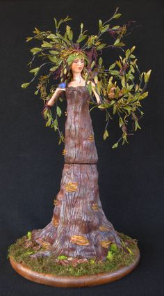 "OOAK fully sculpted polymer clay art doll, ""The Dryad"" fantasy figure, tree spirit, by Lori Platt of The Pixie Knoll on Etsy, $900.00"