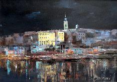 Branko Dimitrijevic, Belgrade at Night, Oil on canvas, 25x35cm