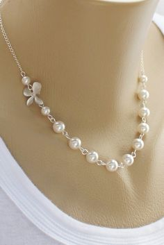 orchid and swarovski pearl wedding necklace