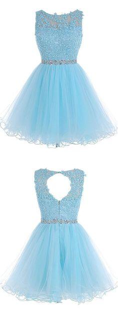 A-line Scoop Short Blue Zipper-up Organza Homecoming Dress With Appliques… - burgundy dress formal, burgundy summer dress, party dresses online *ad