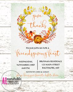 Friendsgiving InvitationFriendsgiving PotluckGive Thanks