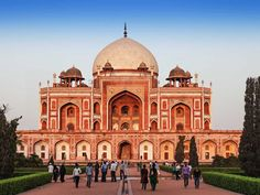 Humayun's Tomb, which was built for India's second Mughal emperor, looks more like a palace with its dome and detailed walls and archways. The tomb later inspired the construction of the Taj Mahal.