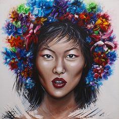 """"""" Beautiful Liu """" - Acrylique sur toile de 80 x 80 cm... Toujours inspirée par la belle Liu Wen, célèbre égérie asiatique de plusieurs… Liu Wen, Portrait, Creations, Crown, Beautiful, Mannequin, Jewelry, Acrylic Paintings, Canvas"""