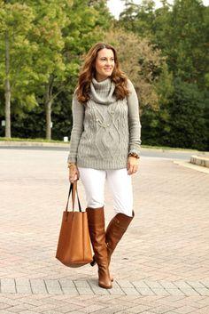 Gray Cowl Neck Sweater
