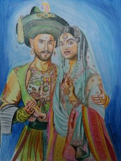 My painting bajirao mastani Indian Art Paintings, Celebrity Drawings, Pencil Drawings, Colored Pencils, My Arts, Sketches, Watercolor, Colour, Design