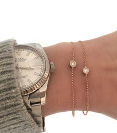 Diamond Bezel Bracelet. Your everyday bracelet in 18k solid gold by Vivien Frank Designs.
