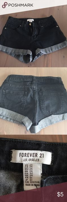 Forever 21 Shorts Forever 21 Shorts. Size 24 (US), XS. Dark Wash. High-Rise. Cuffed. Like New. Forever 21 Shorts Jean Shorts