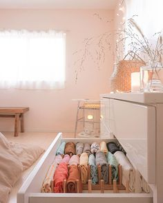 Pin on 収納 Room Ideas Bedroom, Small Room Bedroom, Bedroom Decor, Study Room Decor, Home Organisation, Room Organization, Small Apartment Organization, Dresser Drawer Organization, Clothing Organization