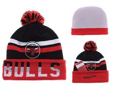 85afc3bfbe7 Mens   Womens Chicago Bulls Mitchell   Ness NBA Trifecta Cuffed Knit Beanie  Hat With Pom - Black   White   Red