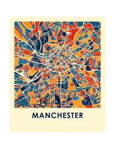 Manchester Map Print Full Color Map Poster by iLikeMaps on Etsy