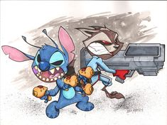 Rocket Raccoon and Stitch Battle by Bloodzilla-Billy.deviantart.com on @deviantART