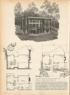 Vintage House Plans, Mid Century Homes Design D 2554 Sims 4 Modern House, Modern House Plans, House Floor Plans, Modern Houses, Modern Pools, Mid-century Modern, Post Modern, Contemporary, The Sims