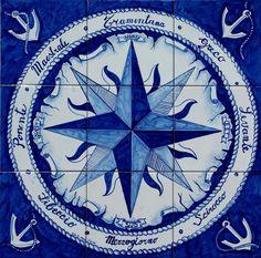 Pannello Rosa dei Venti   60x60 cm - mod. Blu Ancora