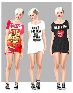 Bangerz Costume & Meet&Greet Long shirt of Miley Cyrus by Angela - Sims 3 Downloads CC Caboodle