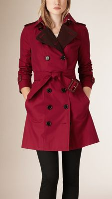 Contrast Colour Cotton Gabardine Trench Coat