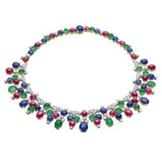 Necklace with rubies, emeralds, sapphires and diamonds.