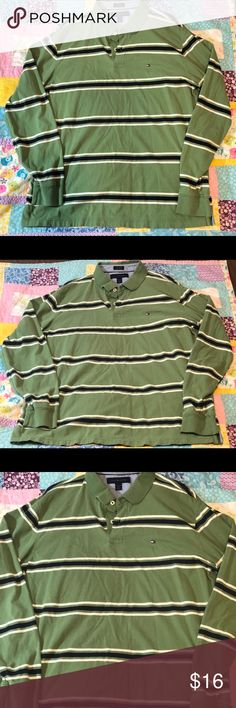 Long Sleeve Tommy Hilfiger Polo. Great Condition. Awesome Long Sleeve Tommy Hilfiger Polo. Great Green Striped Pattern. Size XL. Fantastic Condition. Tommy Hilfiger Shirts Polos