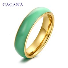 CACANA Stainless Steel Rings For Women Bright Ceramics Fashion Jewelry Wholesale NO.R140 141