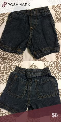 Dark Denim Jean Shorts 18 Month old• for boys• stretchy waistband• Dark blue with in pocket in the back• Great Condition Bottoms Shorts